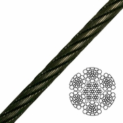 """1-1/8"""" 6x26 Impact Swaged Wire Rope - 176000 lbs Breaking Strength"""
