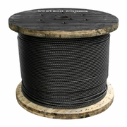 """1/2"""" x 1000 ft 6x26 Swaged Wire Rope - 31800 lbs Breaking Strength"""