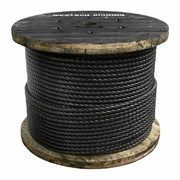 """1"""" x 500 ft 6x26 Swaged Wire Rope - 123000 lbs Breaking Strength"""
