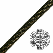 """7/8"""" 6x26 Swaged Wire Rope - 95000 lbs Breaking Strength"""