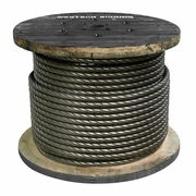 """9/16"""" x 500 ft 6x26 Impact Swaged Wire Rope - 46700 lbs Breaking Strength"""