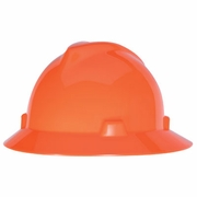 MSA V-Gard Full Brim Hard Hat - Hi-Vis Orange