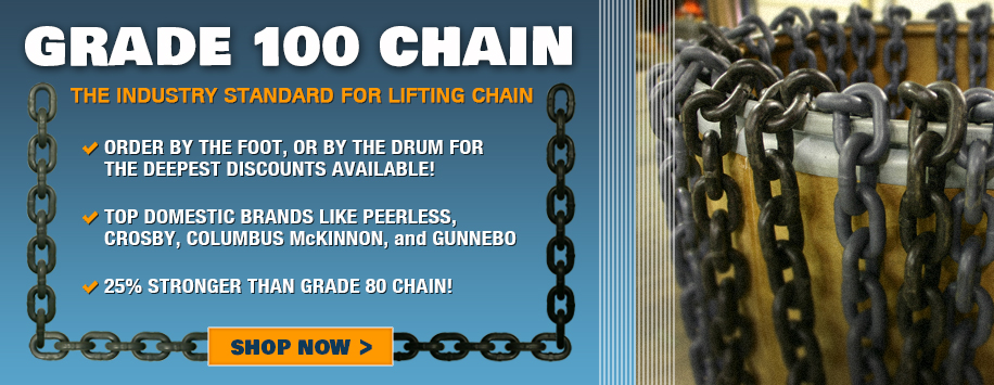 Rigging Chain, Grade 100, High Test, All Kinds