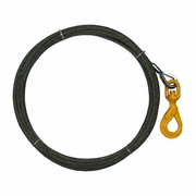 "3/8"" x 125 ft Wire Rope Winch Line - Self-Closing Swivel Hook - 15100 lbs Breaking Strength"