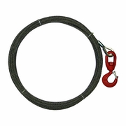 "3/8"" x 50 ft Wire Rope Winch Line - Swivel Hook - 15100 lbs Breaking Strength"