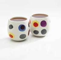 Polka Dot Bubble Ceramic Teacups - 2 Pc. Set