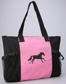 Galloping Horse Tote - Pink and Black