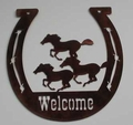 Horseshoe Welcome Sign - Horses