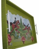 Hunter Jumper Horses Hand Painted by Frederique Serving Tray