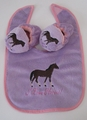 I Love Horses Baby Booties and Bib  Set