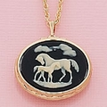 Mare and Foal Cameo Black/Gold