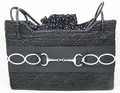 Silver Bit and Black Wicker Handbag