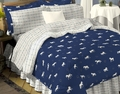 Blue Horse Bedding   - FULL