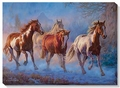 Twilight � Horses Wrapped Canvas Art Print
