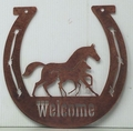 Welcome Sign - Horseshoe with Mare and Foal