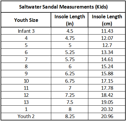 Saltwater Shoes Sizing