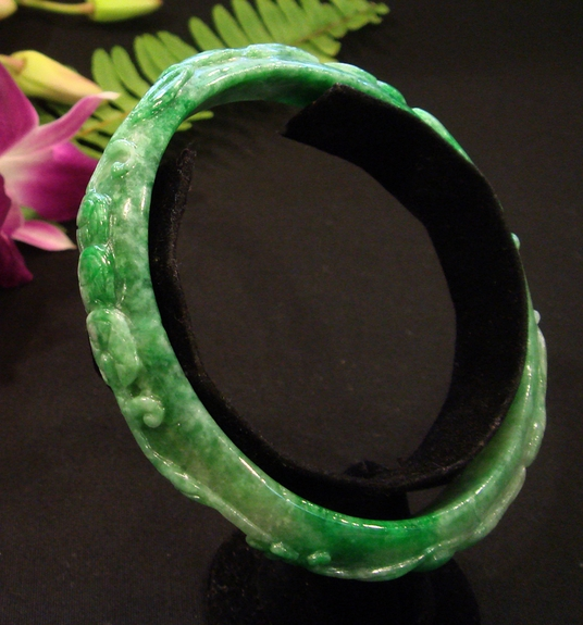 Carved Dark Green Jade Bangle