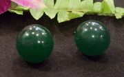 Deep green jade bead earrings