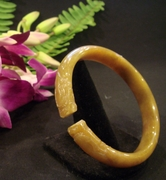 Honey Color Carved Dragon Jade Bangle