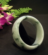 Wide Jade Bangle with Spinach Green