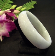 Wide Pale lavender Jade  Bangle