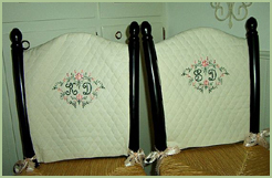 Chair covers with Heirloom font