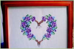Framed Violets Heart