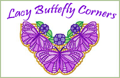 Lacy Butterfly Corners Machine Embroidery Design