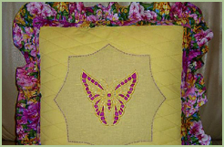 Pillow with Cutwork Butterfly
