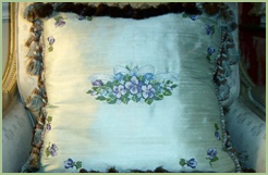 Silk Pillow with Violets