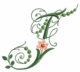 Victorian Flowers Font - Letter F