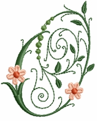 Victorian Flowers Font - Letter O