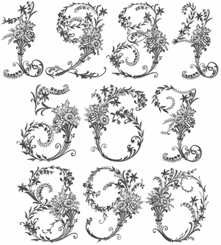 Victorian Whitework Numbers 8x8