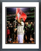 David Ortiz celebrates winning Game 6 of the 2013 World Series Framed Picture