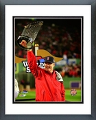 John Farrell holds the World Series Trophy Game 6 of the 2013 World Series Framed Picture