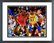 Michael Jordan guarding Magic Johnson 1990 Framed Picture 8x10