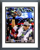 Seattle Seahawks Russell Wilson with the Vince Lombardi Trophy Super Bowl XLVIII Framed Picture