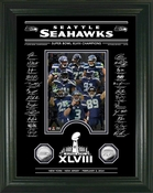 Seattle Seahawks Super Bowl 48 Champions Etched Glass Silver Coin Photo Mint