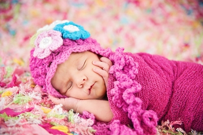 Daisy Baby Hat in Josephine Hot Pink