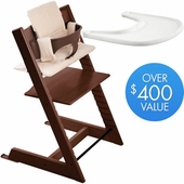 Stokke Trip Trapp Bundle in Walnut with Walnut Tripp Trapp Chair, Walnut Baby Set, Soft Beige Cushion and Stokke Tray