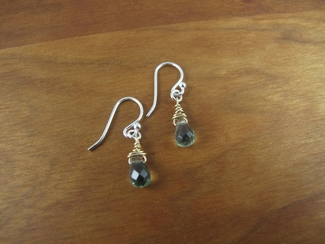 Faceted green quartz teardrop earrings