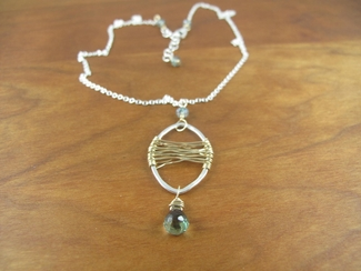 Green quartz on a 14kt gold filled wrapped pendant and sterling chain