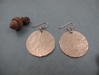 Large 14kt gold filled hammered disc earrings