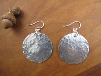 Large hammered sterling silver disc earrings