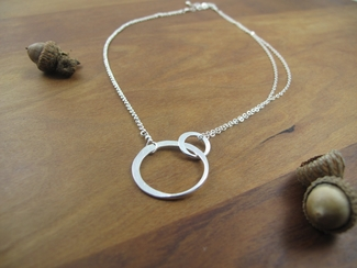 Large sterling silver entwined circles