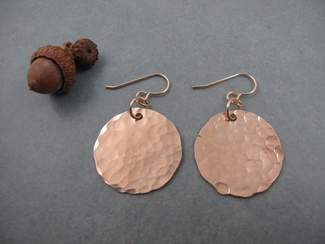Medium 14kt gold filled hammered disc earrings