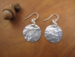 Small hammered sterling silver disc earrings
