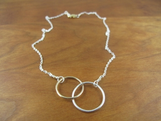 Sterling silver and 14kt gold entwined circles
