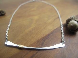 Sterling silver bar necklace with 14kt gold filled wrap