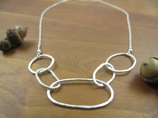 Sterling silver hand crafted hammered links necklace, on sterling silver chain